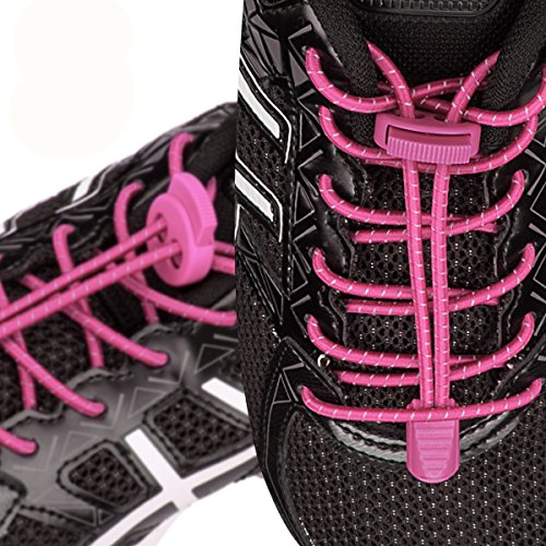 Shoe Running Quick Shoelaces Laces Pink Shoes Tie Kids Reflective Climbing and Hiking Lock No with Adults for 3 Elastic Running System for Pairs Lacing aqgnxwpWRt