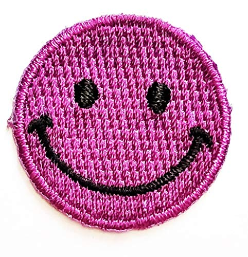 PP Patch Mini Purple Smiley Smile Happy Face Cartoon Game Logo Girl Kid Baby Sticker Patch Sew Iron on Embroidered Symbol Badge Cloth Jacket T Shirt Costume (Face Smiley Purple)