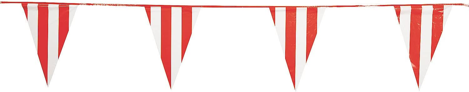 Fun Express Red & White Pennant Carnival Banner (100 feet long) Event Supplies