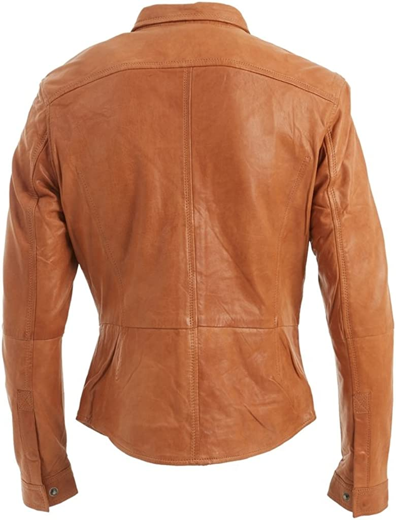 Slim Fit Mens Tan Retro Jeans Trucker Shirt Jacket Real Leather Vintage Biker