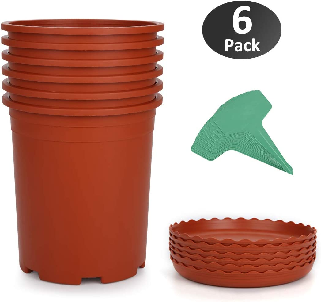 GROWNEER 6-Pack 1 Gallon Nursery Pot Garden Flower Pots, Brick Red Nursery Plant Container Kit with 6 Pcs Matching Pallets and 15 Pcs Plant Labels
