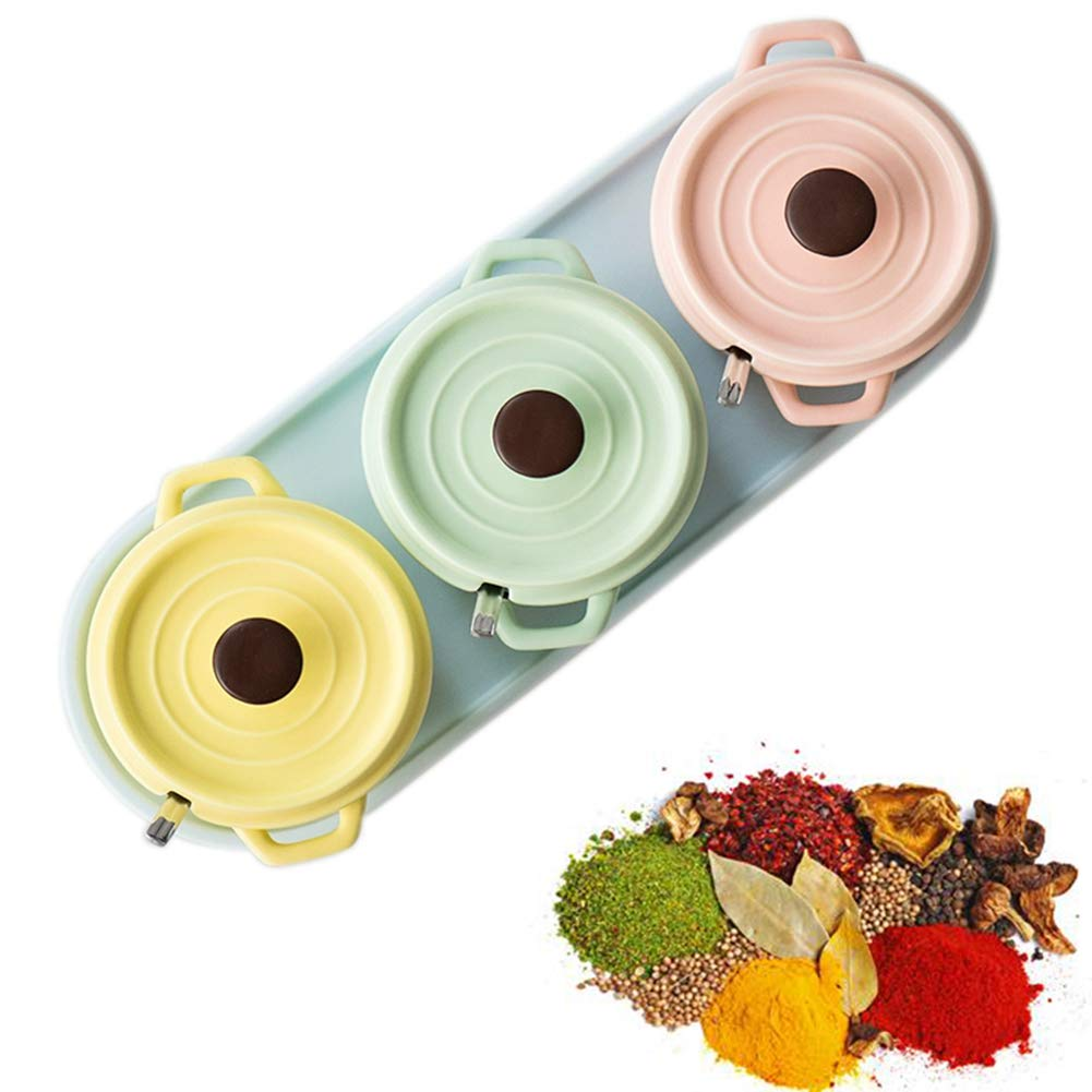 MAI&BAO Spice Jar Seasoning Bottle Box Jar Ceramic Condiment Storage Container for Storing Pepper Cumin Powder Salt Sugar Pepper Bright Macaron Color