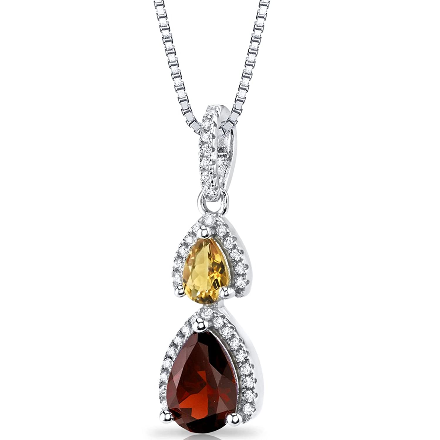 Garnet and Citrine Open Halo Pendant Necklace Sterling Silver 2 Stone 1.75 Carats Total