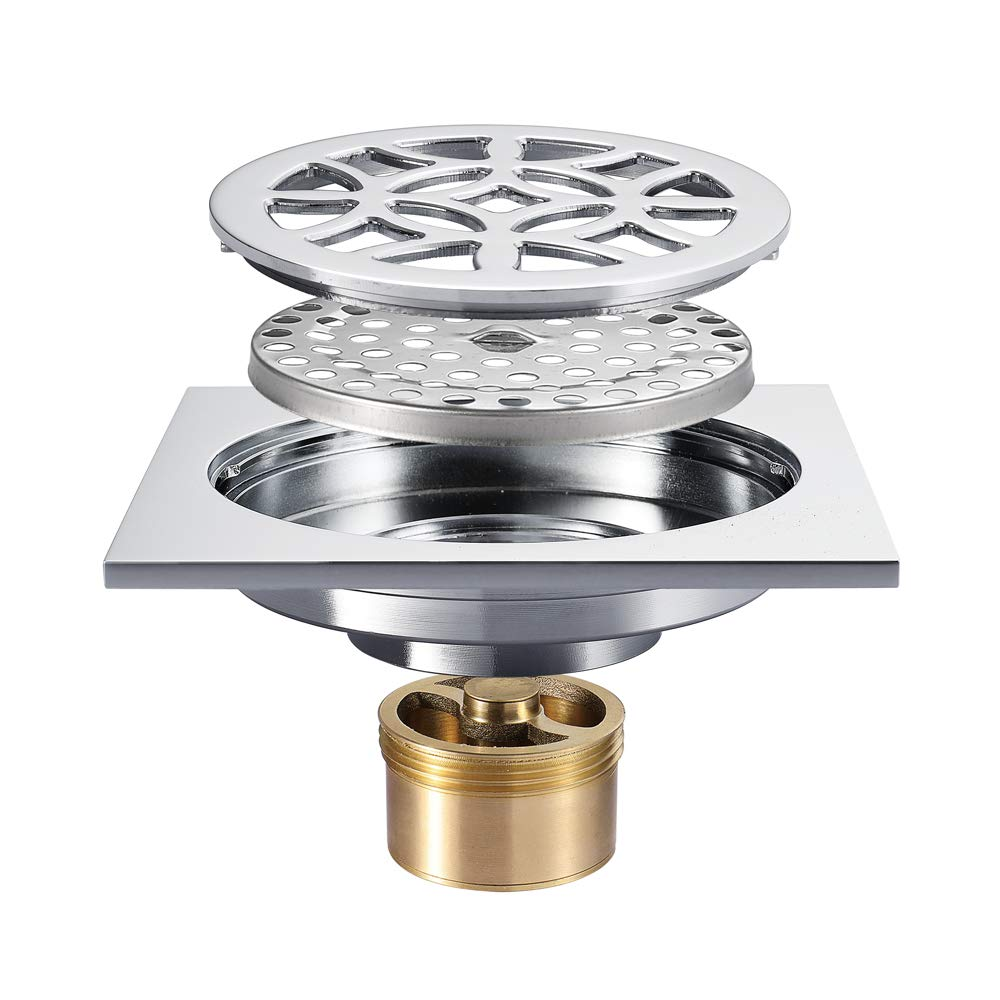 4-Inch Square Shower Floor Drain Tile Insert Pure Cupper Brushed Grate Strainer With Removable Cover Anti-Clogging, High-Grade Bronze Floor Drain