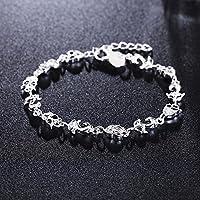 Fashion Bangle Chain Bracelet Lady New Jewelry 925 Silver Crystal Cuff Charm Fox