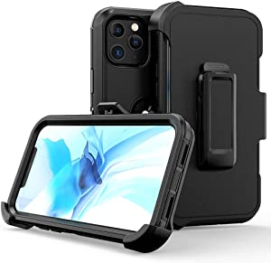 xihaiying Armor Case Compatible with iPhone 12 Pro Max Case,Heavy Duty Hard Shockproof Armor Protector Case Cover with Belt Clip Holster for Apple iPhone 12 6.7 5G 2020 Phone Case (Black)