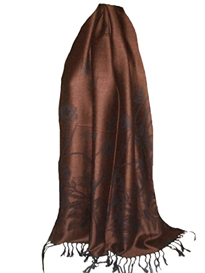 6b76c56bde54 itendance Etole écharpe fine chale femme laine de pashmina et soie Marron  Noir - idée cadeau