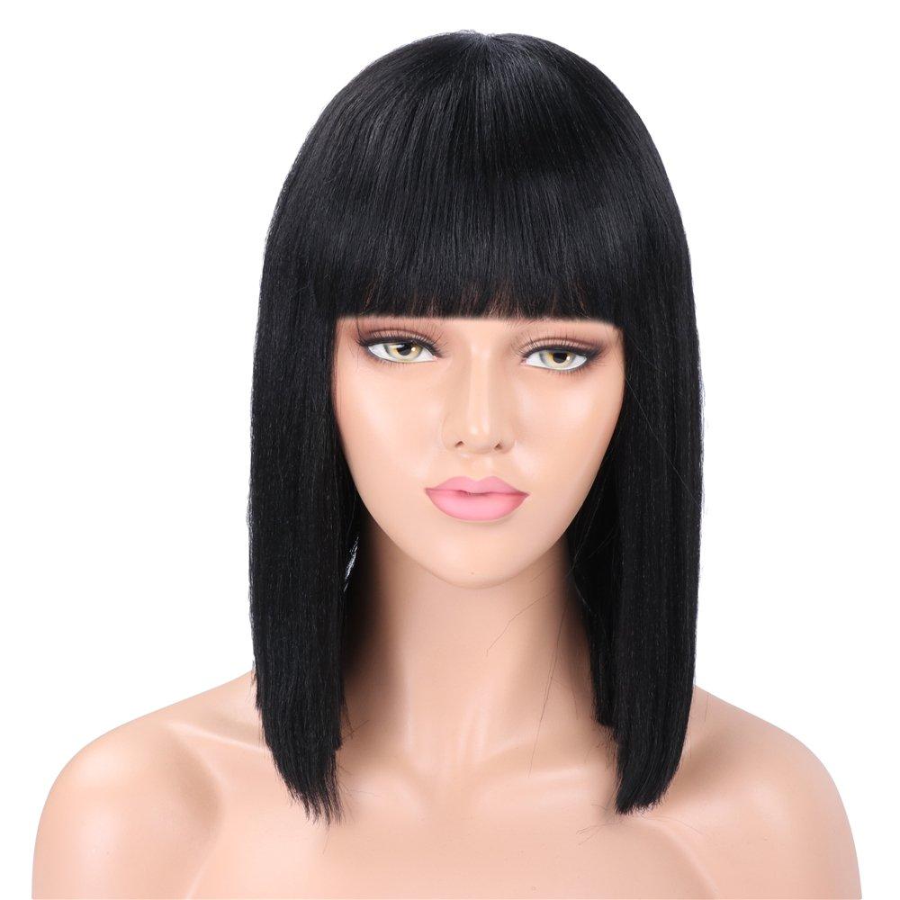Parrucca Golden Rule parrucca corta nera con frangia per le signore parrucca sintetica capelli lisci parrucca Cosplay giornaliera usura 14 pollici