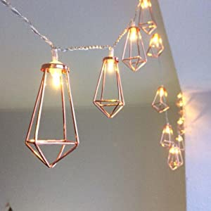 10ft 20 LEDs Rose Gold Geometric Metal Diamond Shape Copper Wire Fairy String Lights,Water Drop Metal Cage String Lights Battery Operated For Chirstmas,Wedding, Garden Home Decor.