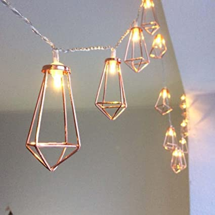 sneakers for cheap 7c51d ac234 10ft 20 LEDs Rose Gold Geometric Metal Diamond Shape Copper Wire Fairy  String Lights,Water Drop Metal Cage String Lights Battery Operated For ...