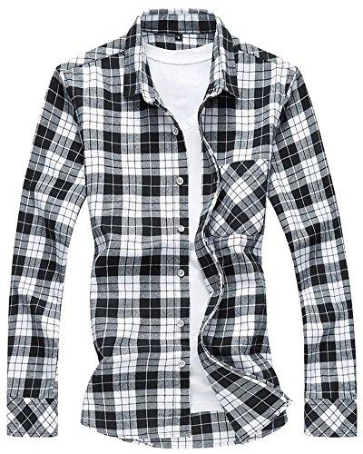 Men's Long Sleeves Retro Vintage Checker Plaids Casual Dress Shirt, Black & White, Medium