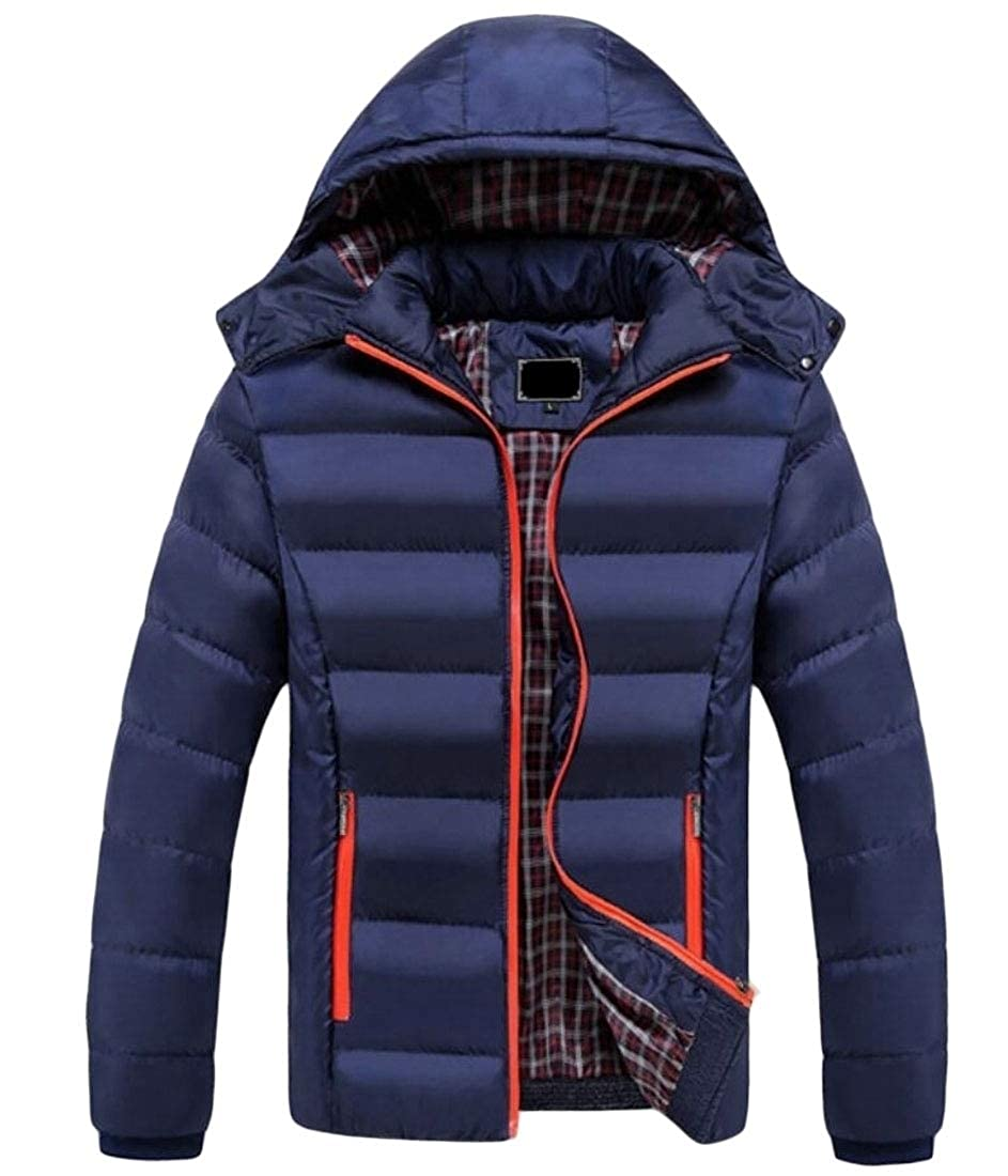 2 2 2 LEISHOP Men's Winter Outdoor Cotton Coat Puffer Jacket with Removable Hood 0eea23