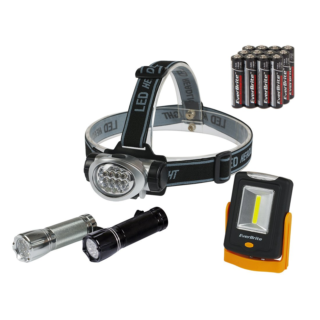 EverBrite LED Headlamps, Handheld Flashlights, COB Work Light With Stand Combo Kit 4-piece Battery Included