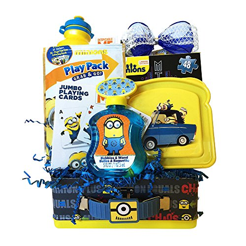Minions Valentine Gift Baskets With Bubbles And Wand Play Pack For Kids ' Boys And Girls ' 3 To 7 Years Old