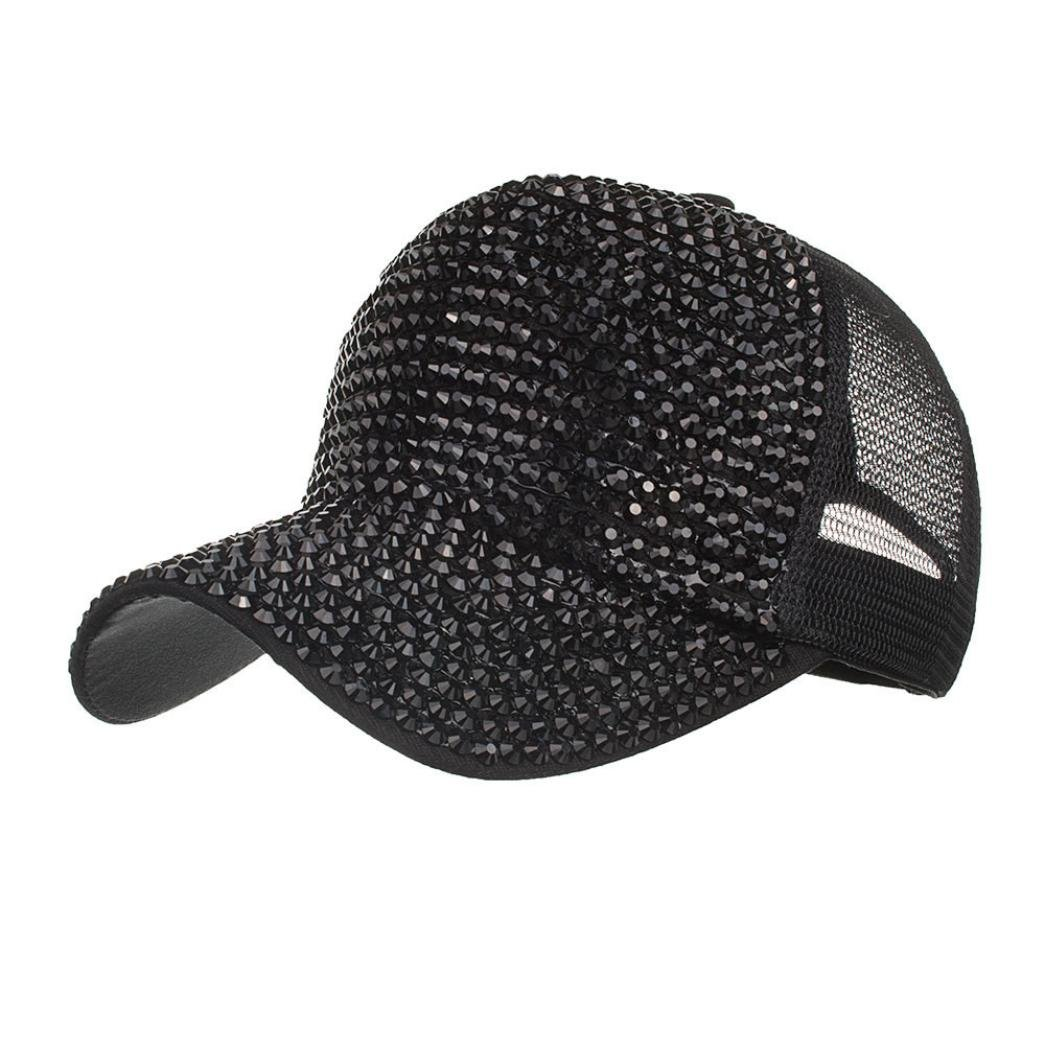 84a30ba8aca RAINED Women Casual Rhinestone Hats Female Baseball Cap Bling Diamond Hat  (Black) at Amazon Men s Clothing store