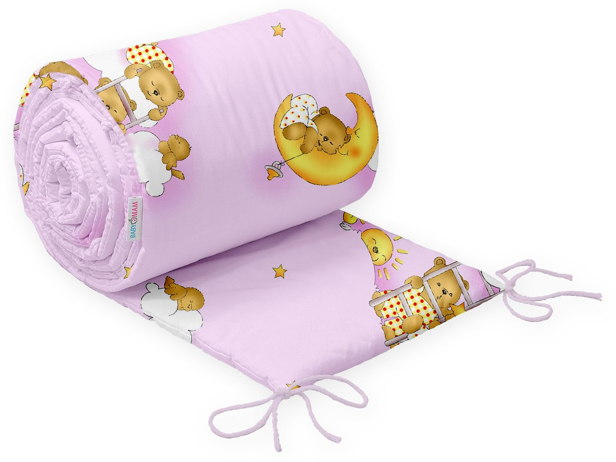 BABY PADDED BUMPER 100/% COTTON FOR COT 120x60 STRAIGHT 180 CM Teddy Ladder Pink