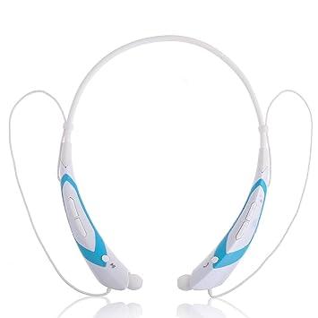Auriculares inalámbricos universales Bluetooth 4.0 Música Estéreo Auriculares Vibración Cuello Banda Moda Transformador Estilo (Perla/Negro) (Blanco/Azul): ...