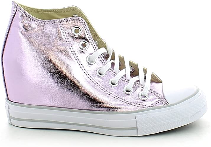 Converse Chuck Taylor All Star Lux Metallic Mid Top 556779C Purple Women Shoes (size 5.5)