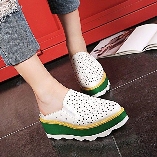 Easemax Dames Trendy Gebruineerd Stiksels Uitgesneden Platform Midden Sleehak Zonder Sluiting Sandalen Wit