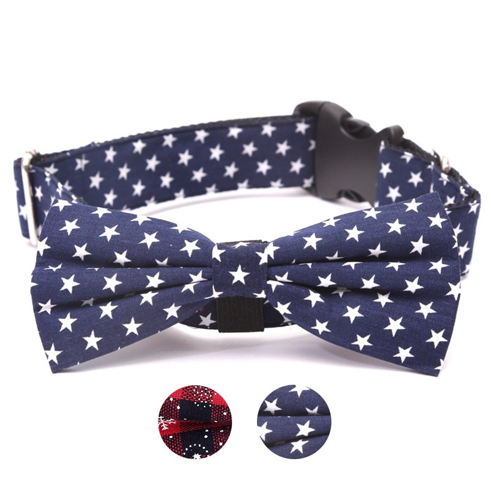 bluee M bluee M Dora Bridal Dog Collar Adjustable, Christmas Winter Theme Dog Collars with Bowtie Personalized Collars for Small Medium and Large Dogs