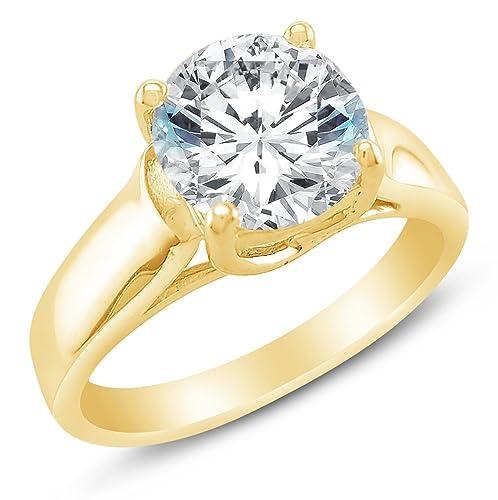 Sólido 14 K blanco o amarillo oro clásico tradicional redondo grande de ancho de corte brillante