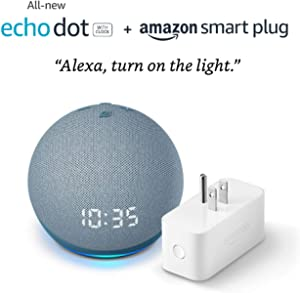 All-new Echo Dot (4th Gen) with clock + Amazon Smart Plug   Twilight Blue