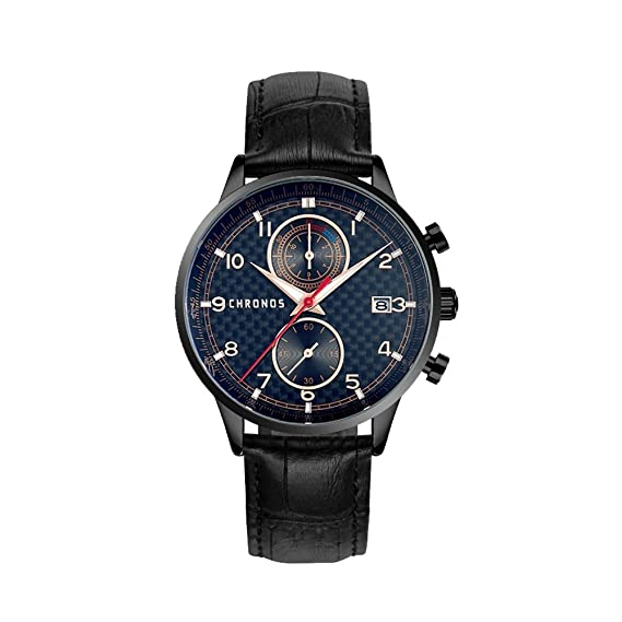 Chronos Mens Waterproof Sports Watch Chronograph Black Leather Quartz Analog Wristwatches with Date Calendar Timepiece