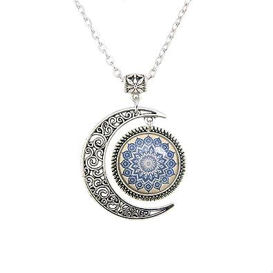 Ciondolo A Forma Di Luna Navy Floreale Mandala Mandala Fiore Collana