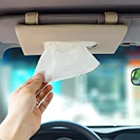 Detachi Car Sun Visor Tissue Box/Napkin Box Holder/Car Sun Visor Tissue Paper Holder Compatible with All Cars (Beige Colour)