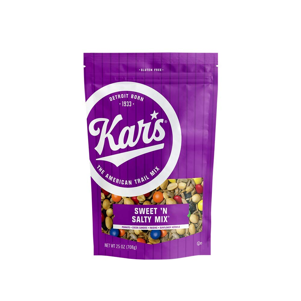 Kar's Nuts Sweet 'N Salty Trail Mix Snacks - High Protein Blend of Peanuts, Sunflower Kernels, Raisins & Chocolate Gems, Gluten Free - 25 oz Resealable Pouch