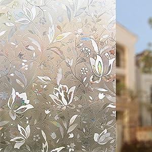 Rabbitgoo 3D Window Films Privacy Film Static Decorative Film Non-Adhesive Heat Control Anti UV by GLOBEGOU CO.,LTD