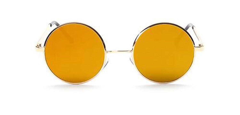 Western-Retro Sonnenbrille Metallebene Farbfilter Runde Brille Sonnenbrille,Orange-OneSize