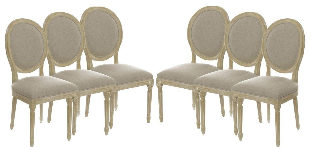Amazon.com   Set Of 6 Vintage Antique French Style Round Upholstered Wood  Side Dining Chairs / Dinette Chairs / Kitchen Chairs   Chairs