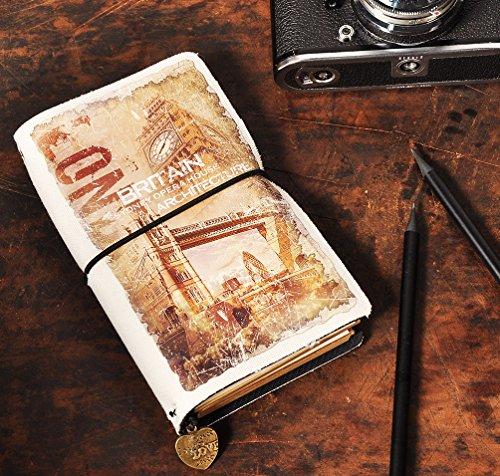 Blank Line Card Slot Cover - Kodamaa Travel diary retro handmade Oxford cloth refillable notebook for note taking ai-natebok,a6 Handmade Travelers Notebook (Britain)