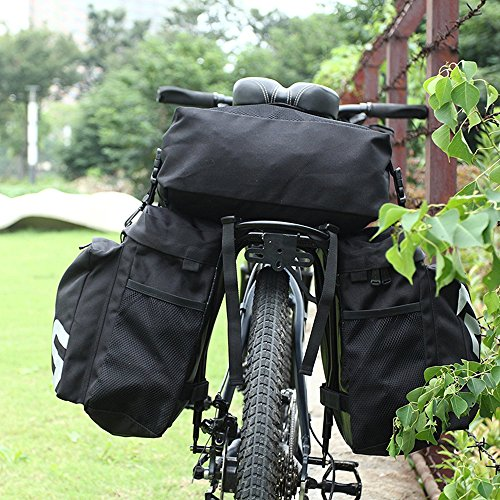 COCO Bike Panniers Waterproof Bag - 3 in 1 Multi Function Messenger Panniers for Bicycles, Bicycle Rear Seat Trunk Bag, Bicycle Saddle Bag for Mountain Cycling (Black) by COCO (Image #5)