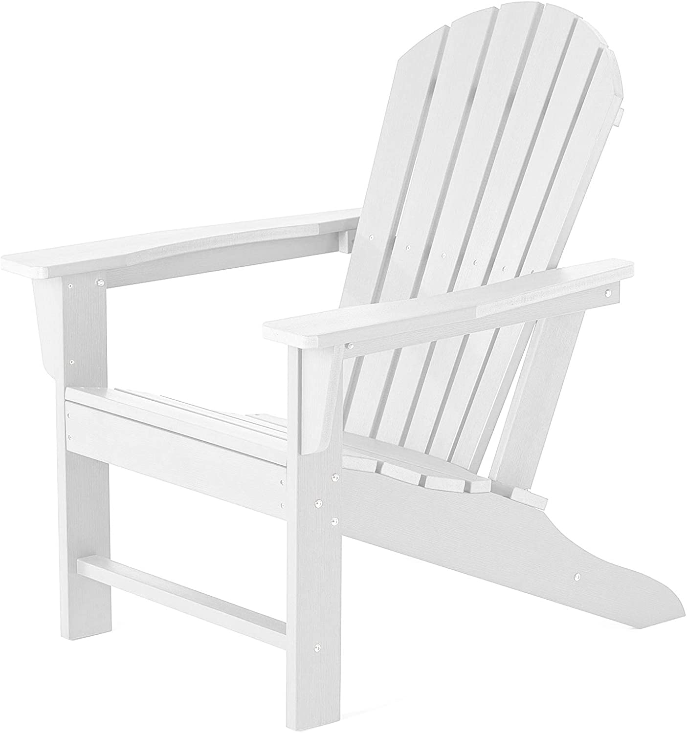 SERWALL Adirondack Chair | Adult-Size, Weather Resistant for Patio Deck Garden, Backyard & Lawn Furniture | Easy Maintenance & Classic Adirondack Chair Design (White)