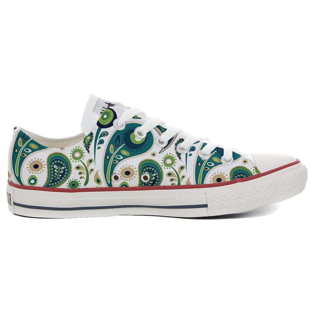 Converse Custom Slim personalisierte Schuhe (Handwerk Produkt) White Green Paisley 1  44 EU