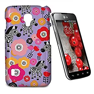 Phone Case For LG Optimus L7 II Dual P715 - Zebra Blossoms Purple Hardshell Lightweight