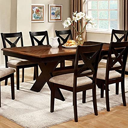 247SHOPATHOME IDF 3776T 9PC Dining Room Sets, Dark Oak And Black