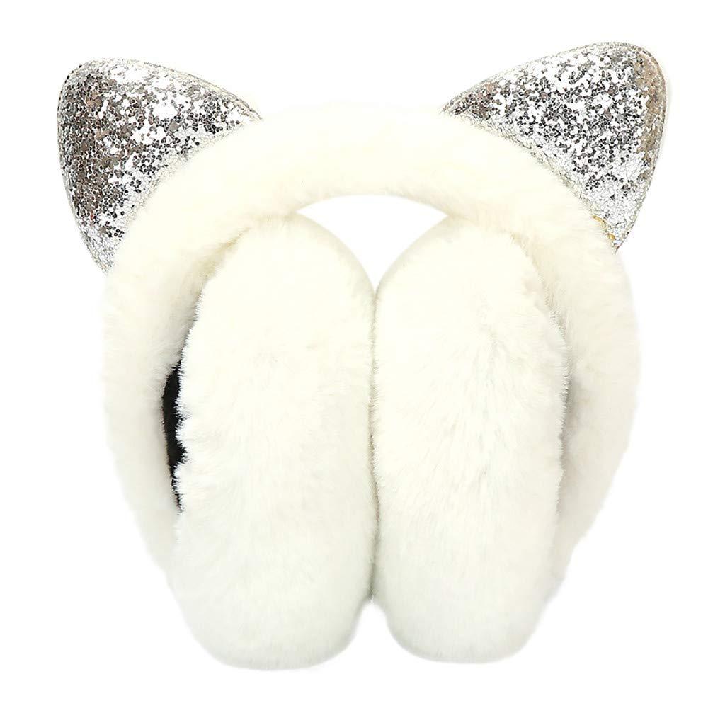 Women Girl Winter Earmuffs Sequins Cat Ears Design Windproof Warm Adjustable Fleece Earmuffs White