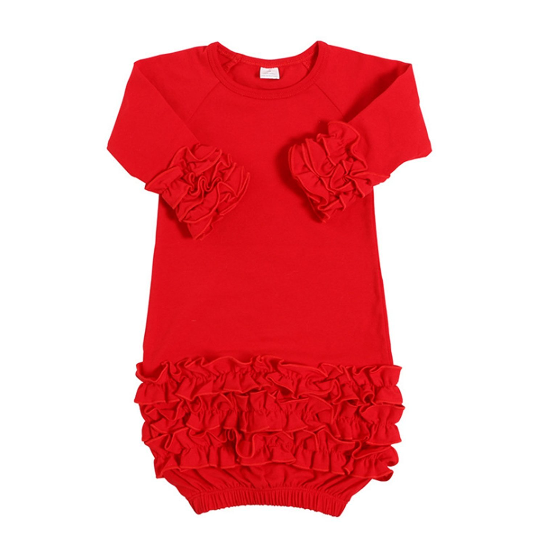 Yihanshangmao Infant Newborn Baby Girl Fold Lace Night Gowns Sleeping Bag Sleepwear (Red, 0-3M)