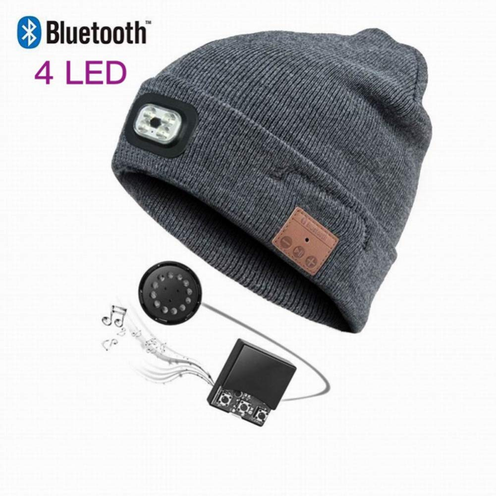Bluetooth Beanie Hat with LED Headlight, Lighted Beanie Cap Rechargeable with Wireless Bluetooth Hands Free Head Hat Winter Warm Knit Cap with Adjustable LED Brightness-Ship from America by Wingbind