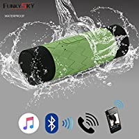 Funkysky Ultra Waterproof Portable Wireless Bluetooth Speaker with 5200 Power Bank: Volume 10W+, Perfect Speaker for Cycling, Beach,Outdoor (Green)