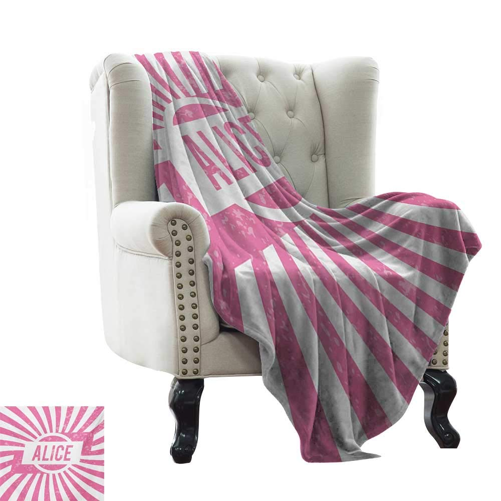 color05 50\ BelleAckerman Sand Free Beach Blanket Alice,Grunge Looking Design for Girls Lettering in Pink color on Radial Background,Pale Pink and White Warm Microfiber All Season Blanket 50 x60