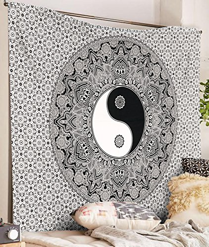 SheetKart Yin Yang Tapestry, Indian Hippie Wall Hanging, Bohemian Bedspread, Traditional Mandala Cotton Dorm Decor, Black And White