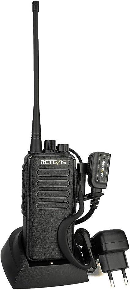Retevis RT1 Walkie Talkie Largo Alcance, Profesional Robusto Walkie Talkie, Radio de 2 Vías Recargable 16 Canales y 3000mAh con Auricular y Antena de ...