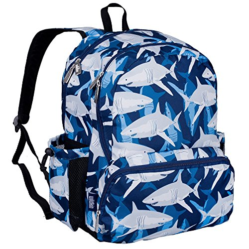 Wildkin 17 Inch Backpack, Durable Backpack with Padded Straps, Three Zippered Compartments, Moisture-Resistant Lining, and Two Side Pockets – Sharks