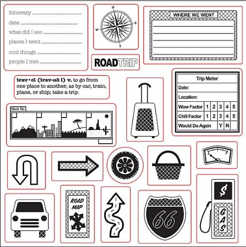 Fiskars 8-Inch By 8-Inch Stamp Lil Davis - Away We Go Road Trip