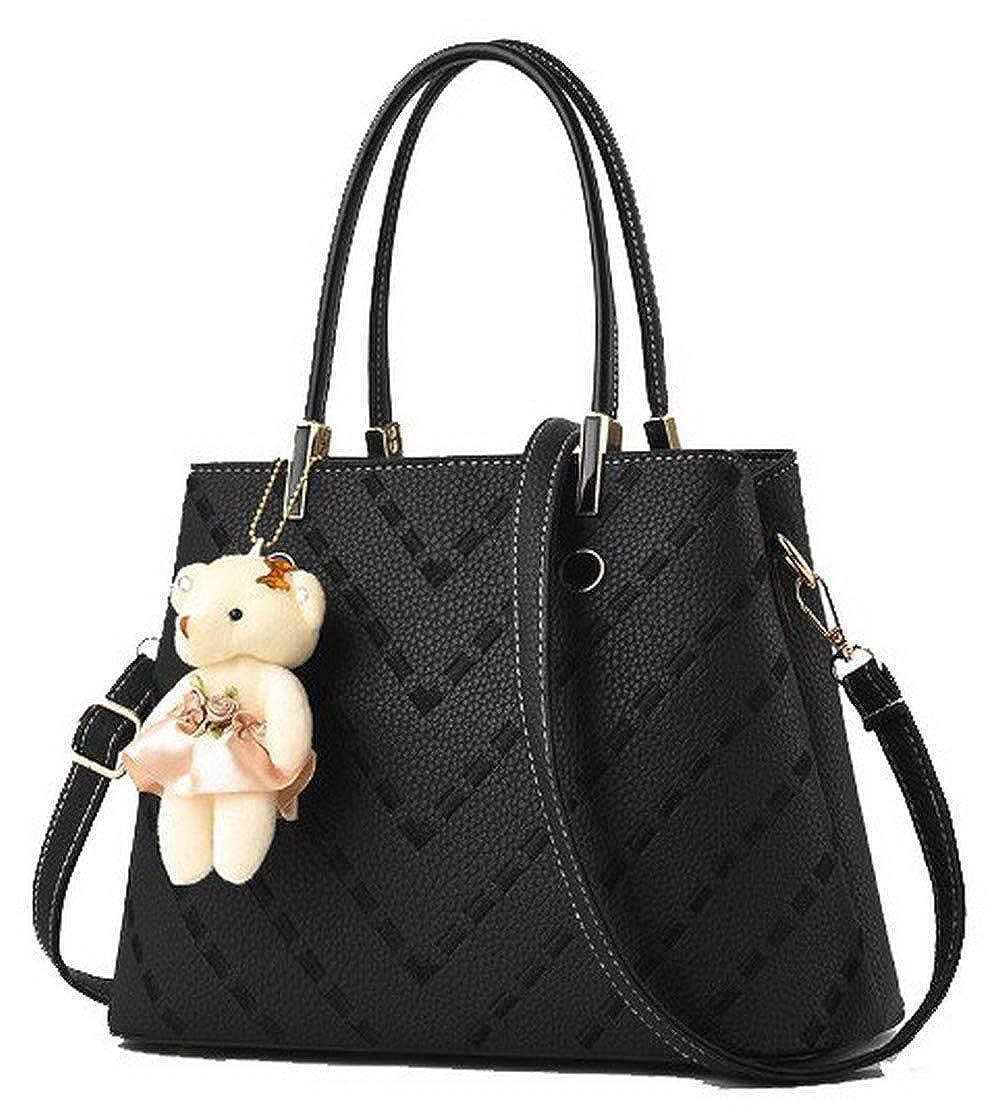 Black WeiPoot Women's Pu Charms Fashion Tote Bags Crossbody Bags,EGHBG182556
