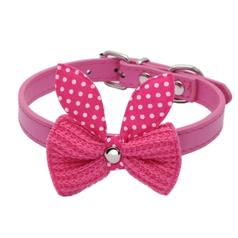 Adjustable Pet Collars, Lotus.flower Cute Knit Bowknot Leather Collars Cat Dog Puppy Kitten Handmade Detachable Bow Tie or Bowtie Set (M, Hot pink)